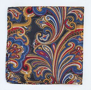 Hankie Pocket Square Handkerchief Black Blue Gold & Red