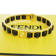 Authentic FENDI Logos Bangle Bracelet Gold-tone Leather Italy Accessory 05ET340