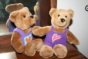 Hallmark Magnetic Kissing Bears Plush Stuffed Animal Valentine's Day Pink Purple