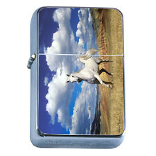 Windproof Refillable Flip Top Oil Lighter Horse D1 Pony Mustang Thoroughbred
