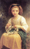 """Nice Oil painting Bouguereau - Child braiding a crown Young girl in forest 36"""""""