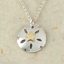 """Far Fetched SAND DOLLAR Pendant NECKLACE Sterling Silver 16"""" Chain - Gift boxed"""