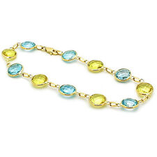 14K Yellow Gold Gemstone Bracelet With Lemon And Blue Topaz 8.5 Inches
