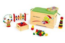 Spieltruhe 6 Holzspielzeuge Motorik Spielzeugkiste Truhe Aufbewahrung Sitzbank