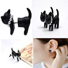 Double Simple Stereoscopic Cat Kitten Impalement Lady Stud Earrings Punk top