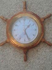 New listing Beautiful Vtg Ships Time Quartz Wall Clock Nautical Brass Inlaid Wood Ship Wheel