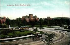 CLEVELAND, OH Ohio  UNIVERSITY CIRCLE  RAILROAD TROLLIES  c1910s   Postcard