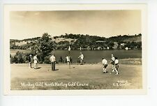 """Monkey Golf"" RPPC North Hatley QUEBEC Rare Vintage CPA Photo 1940s"