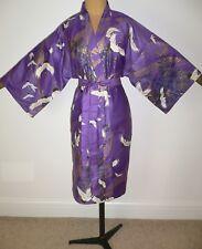 RRP £ 65 NOUVEAU japonais faite, Qualité Coton Kimono Peignoir Robe De Chambre Violet Or