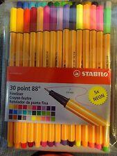 Stabilo 30 Point 88 Fine Liner Brilliant Colored Pen/Markers .0.4mm + 5 Neons