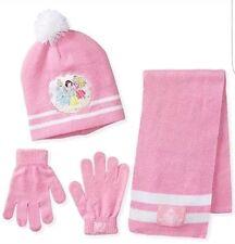 Disney Princess Glove Sleeping Beauty Cinderella Snow White Scarf Hat Set Pink *