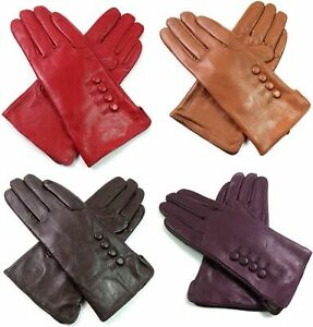 Womens Ladies Premium High Quality Genuine Soft Leather Gloves Fully Lined Warm