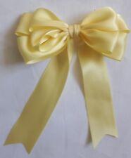 "Large 10cm, Handmade 4"" Double Satin Bow In Lemon, Yellow  Packs of 2, 5 or 10"