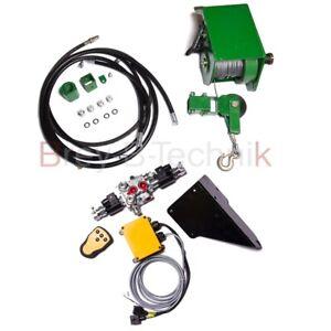 Hydraulische 1,4 t Seilwinde für Rückewagen inkl. Funksteuerung Kranwinde