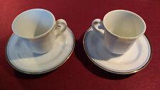 COPPIA TAZZINE CAFFE' BAVARIA E PIATTINO con decorazione blu cobalto e filo oro