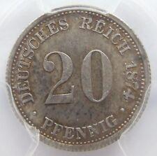 TOP! 20 Pf 1874 H in BANKFRISCH / STEMPELGLANZ PCGS MS64 SELTEN !!!