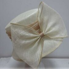 Ladies Ivory & Beige Narrow Brim Hat Bow,Races,Wedding,Melbourne Cup,Fashion