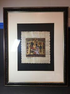 Large Genuine Hand Painted Egyptian Art on Papyrus Signed And Framed