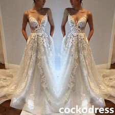 2017 Lace Appliques Spaghetti Strap Wedding Dress White/Ivory A Line Bridal Gown