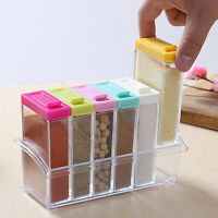 6Pcs/Set Spice Jar Seasoning Sugar Bowl Transparent Colorful Lid Storage Box
