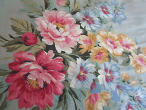 """Vintage 1950s FLORAL BARKCLOTH FABRIC drapes curtain ~ 6+yds 23""""wide SHABBY CHIC"""