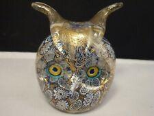 Venice Murano Glass Golden Quilt Millefiori Owl