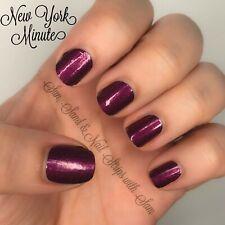 Color Street NEW YORK MINUTE Nail Polish Strips Shimmery Deep Burgundy Purple