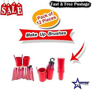 12Pcs Make Up Brushes Cosmetic Face Powder Blusher Foundation Contour Set Red