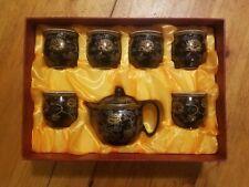 Asiatisches Porzellan Teeservice im Original Karton Schwarz mit Blumenmotiv