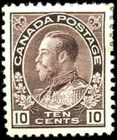 Canada #116 mint VF OG HR 1912 King George V 10c plum Admiral CV$400.00