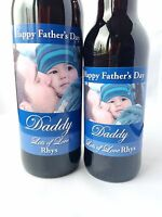 PERSONALISED PHOTO HAPPY FATHER'S FATHERS DAY WINE BOTTLE LABEL
