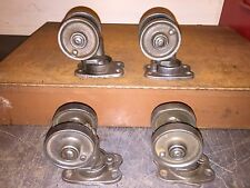"Vintage 1920 3-3/8"" Cleaned Industrial Cast Iron Double Wheel Casters Set"
