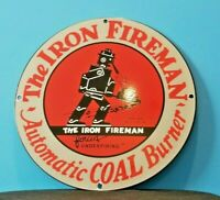 VINTAGE IRON FIREMAN GAS OIL COAL BURNER PORCELAIN SERVICE STATION SIGN