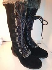KHOMBU Black Suede Tall Boots Front Laces Wedge Womens Size 10 M