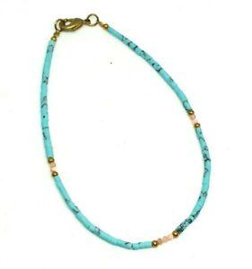 Natural Rhodochrosite, Turquoise Tiny Seed Tube Heishi Beads Anklet Minimalist