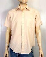 vtg 60s 70s Arrow Kent 2 Solid Tan Men's Button Down SS Dress Shirt mod L 16