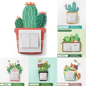 Cactus Potted Living Room Bedroom Light Switch Self-adhesive Wall Sticker