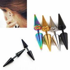 Spike 2pcs 16G Plug Titanium Barbell Cones Earring Taper Fake Steel Ear Rivet