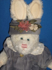 """Boyds Bear and Friends Rabbit Bunny Cream Grey Dress and Hat 11"""""""