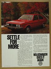 1980 VW Volkswagen Dasher 2-door Hatchback red car photo vintage print Ad