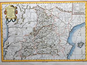 1770, Castille Antic Map Carte Couleurs Hand Colored