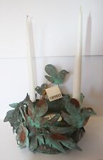 French Country Decor cache pot candle holder copper with verdi gris finish