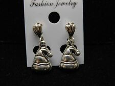 Tibetan Silver Christmas Hat Dangle Earrings on .925 Clamshell Post Findings