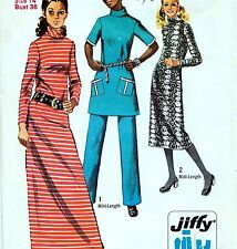 "EASY Vintage 70s DRESS Tunic & Pants Sewing Pattern UNCUT Bust 36"" Size 12 RETRO"