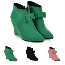 New Fashion Women Pointy Toe Wedge Heel Bowknot Side Zip Ankle Boots Sweet Pumps