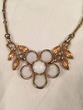 Vintage Enamel Necklace White Flower Gold Background