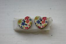Novelty Wooden Heart Blue/pink/green flower Earrings