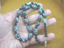 "(v323-53) 19"" long oval black gray Jasper + round Onyx gemstone beaded Necklace"