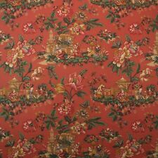 "F SCHUMACHER MANDARIN PAVILION CORAL CHINOISERIE ASIAN THEME FABRIC BY YARD 54""W"