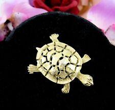 "Turtle Tortoise Pin Vintage Brooch Reptilia Testudines Goldtone Openwork 1 5/8"""